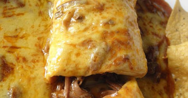 Smothered Beef Burritos-- Crockpot recipe!! Put beef, bouillon, and enchilada sauce*** into