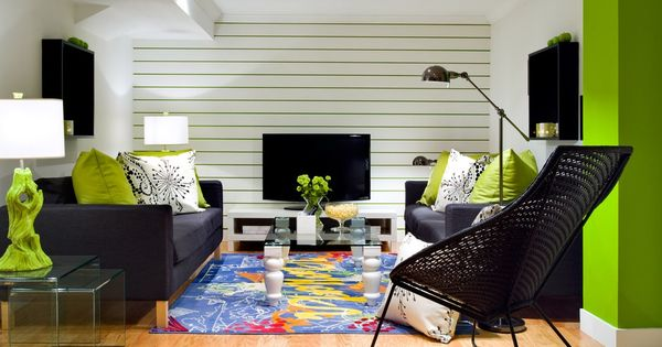 Modern Bright Lime Green Black And White Living Room