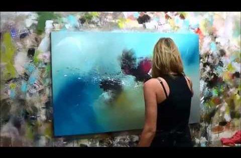 D monstration de peinture abstraite 2 elisabeth toile for Toile abstraite