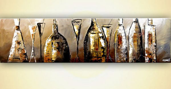 Large Acrylic Painting Abstract Wine Liquor Bottles
