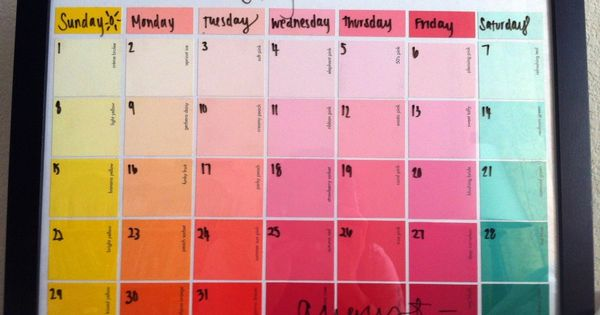 Paint swatch calendar in a picture frame! write on with dry erase