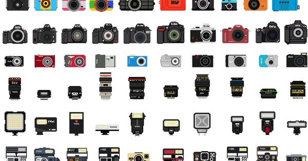 A collection dappareils photos pixel art pixel art camera collection bonus