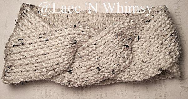 Knitted Ear Warmer Pattern Loom : Lace and Whimsy: Triple Twist Headband Ear Warmer Tunisian Knit Crochet Free ...
