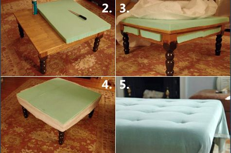 Coffee table turned ottoman. Perfect for households with little ones!