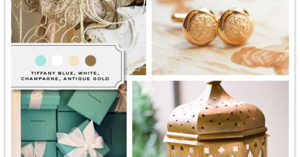 Color Palette: Tiffany Blue, White, Champagne, Antique Gold. For a vanity area/room.