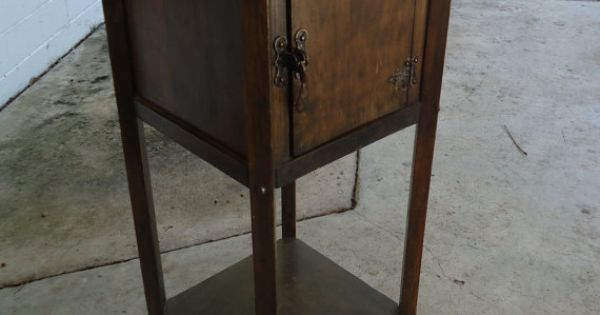 Vintage Smoking Stand With Storage Mission Oak Style Art