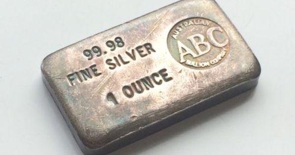 Extremely Rare Vintage Australian Abc 1 Oz 9998 Silver Bar Plank Gold Bullion Silver Bullion Silver Bars