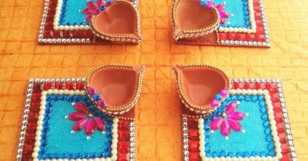 Diwali Diyas Online Shopping India: Decorative Kundan Diya Plate & Diya 8 Pice