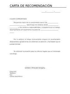 Modelos De Carta De Recomendación Cartas De Recomendacion Cartas Formato De Carta