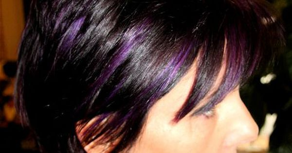 purple highlights for dark hair | Black and purple hair highlights pictures