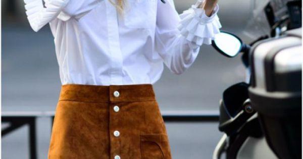 White ruffle sleeve shirt brown suede button down skirt for White shirt brown buttons