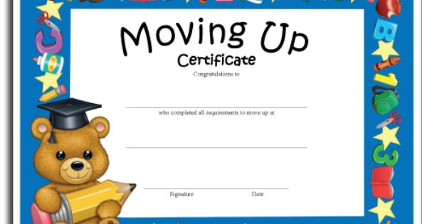 preschool moving up certificates moving up certificates