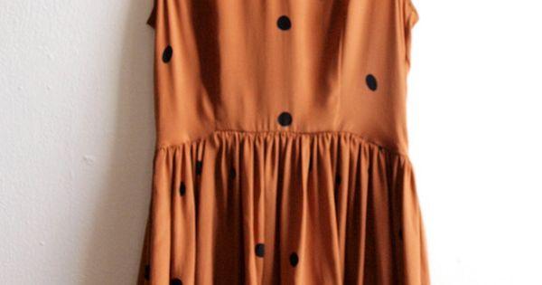 Burnt orange dress with black polkadots