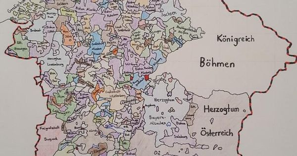 Hand drawn map of the Holy Roman Empire