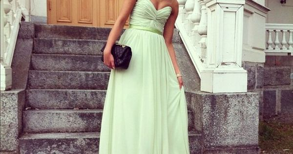 Mint Long Dress & beautiful hair
