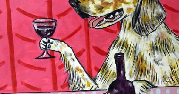 WINE art clumber spaniel dog  poster 4x6  gift modern folk art  GLOSSY PRINT