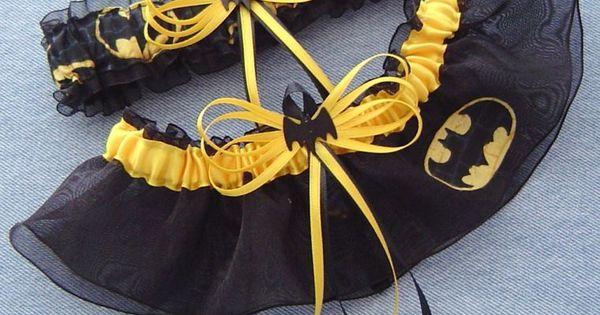 Batman Wedding Garter Set Black Bat with Gift Box
