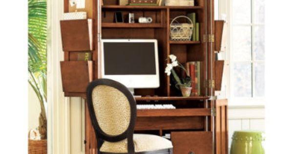 ballard designs solid wood verona computer armoire   desk Creative Desk Ideas White Desk Ideas Pinterest