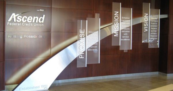 3d Brand Wall With Brushed Metal Arch Frosted Acrylic