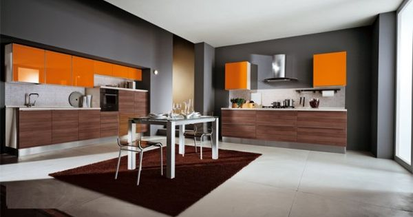 Grey And White With Orange Accents Kitchen Kitchen Furniture Design Modern Kitchen Furniture Modern Interior Decor