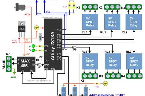 Building Internet Of Things Using Attiny2313 Visit Http Xanthium In Buy Rs485 Modbus Controlled 6 Channel Relay Control Board W Relay Arduino Circuit Diagram