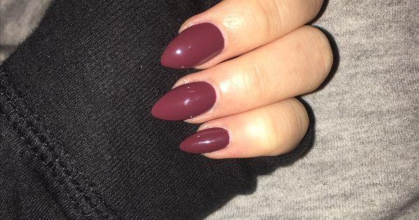Acrylic maroon almond nails winter nails - http://amzn.to ...