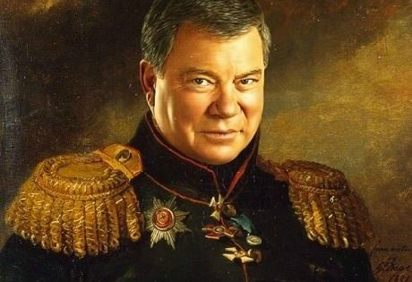 Contemporary actors in 18th and 19th Century military uniform. Bill Shatner looks