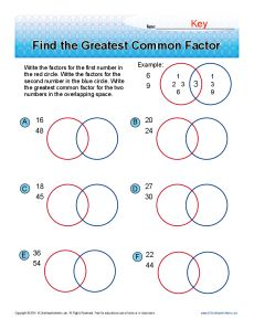 Find The Greatest Common Factor 6th Grade Math Worksheets Common Multiples Greatest Common Factors Common Factors