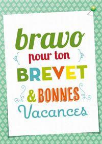 carte félicitations réussite examen Bravo pour ton Brevet ! | Carte felicitation, Message de