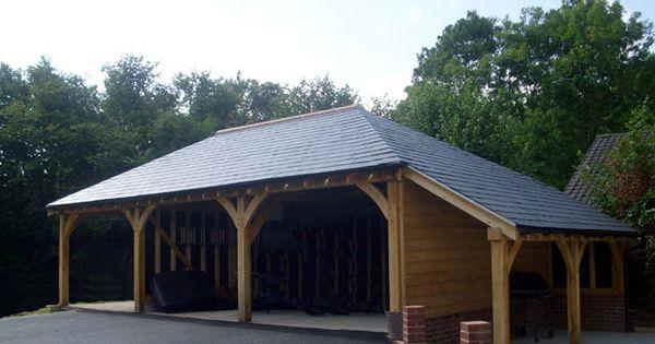 3 bay oak framed carport with log store landscaping for 2 bay carport