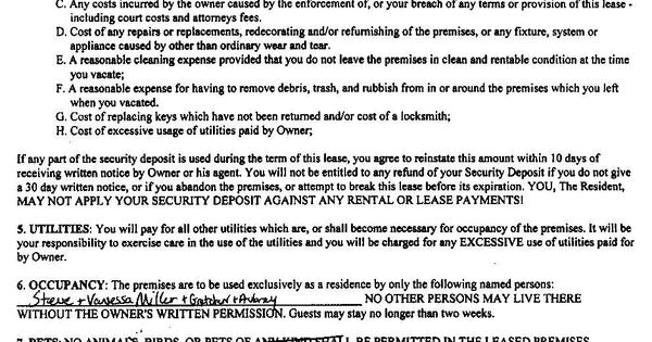 Free Copy Rental Lease Agreement Lease Agreement Pg 1