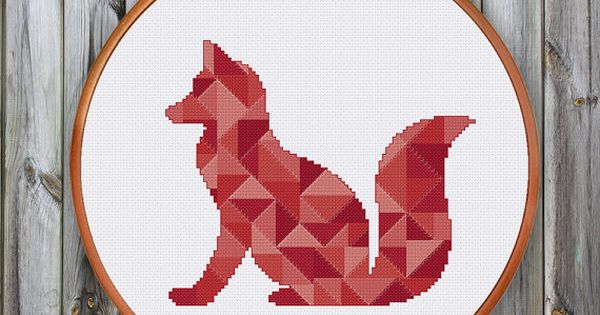Geometric fox minimalist cross stitch pattern nursery for Art minimaliste pdf