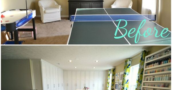 """Craft Room Reveal ~ before and after"" furniture painting craftroom inspiration"