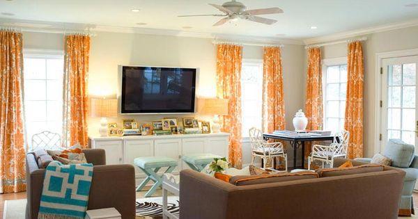 Orange curtains damask curtains and orange on pinterest