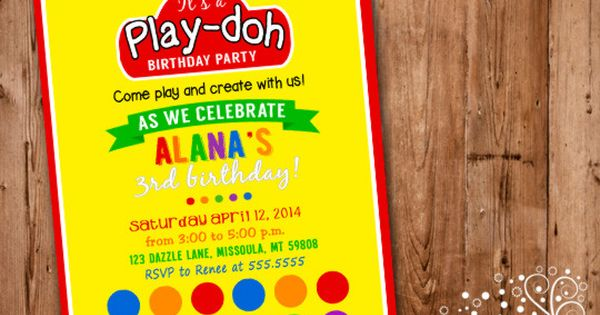 Printable Play Doh Inspired Birthday Party Invitation