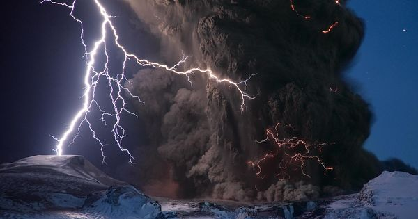 Volcano Lightning, Iceland Photograph by Sigurdur H. Stefnisson, National Geographic Lightning cracks