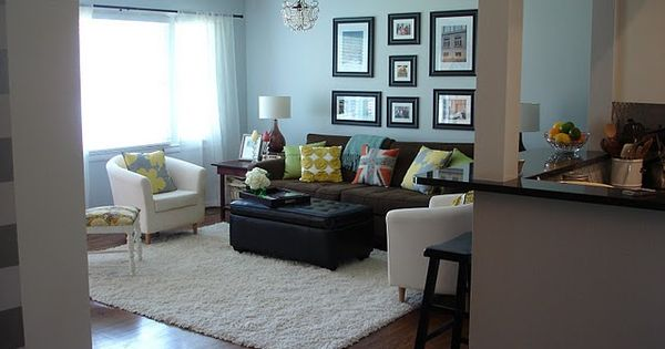 Brown couch creamy accents and a cool color on the walls - Living room color ideas with brown furniture ...