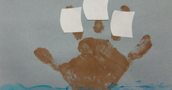 Handprint Mayflower Craft DIY Crafts KidsCrafts ArtsAndCrafts Thanksgiving Fall Pilgrims Mayflower Handprints