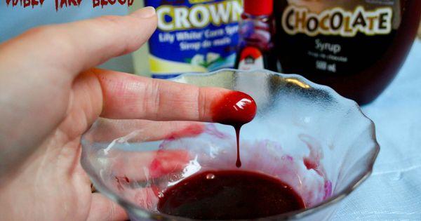 Make edible fake blood using 1 tbsp light corn syrup, 1/2 tbsp