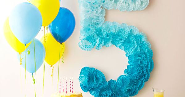 DIY Pom-Pom Number Birthday Decoration - made from coffee filters! CUTE -