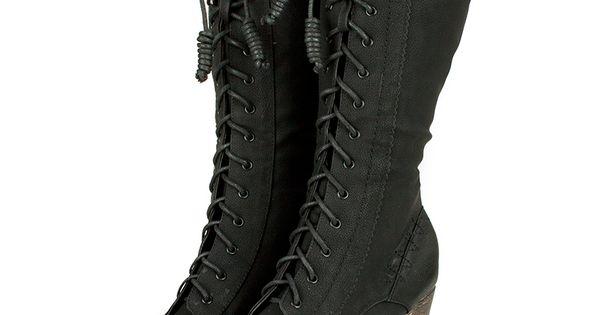 Black Semi Round Toe Lace Up Boots /Steampunk/Victorian/Western [san-900] - $54.99 :