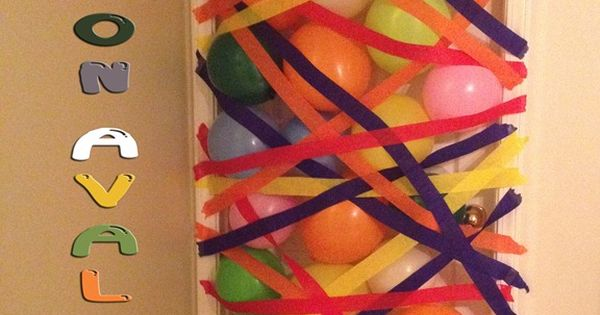 Birthday kid gets a ballon avalanche when he/she opens the door in