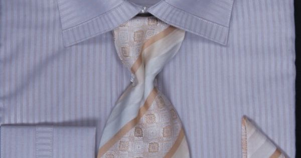 Sutble Tone on Tone Light Lavender Shirt with matching Tie, Handkerchief and Cufflinks.