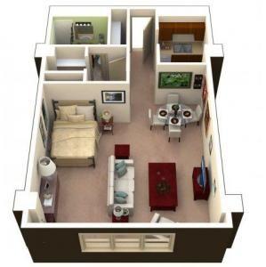 Studio Square Feet 540 590 Sq Ft Cheap Tiny House Studio Floor Plans House Floor Plans