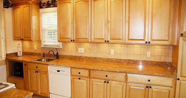 Golden oak cabinets with white appliances maple arched for Kitchen remodel keeping oak cabinets