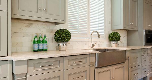 Taupe Kitchen Cabinets Marble Tops Amp Backsplash