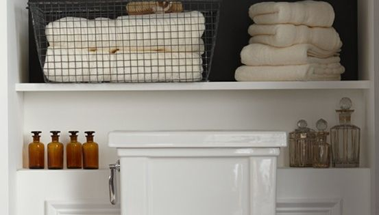 bathroom shelves for half bath... Powder room and master bath