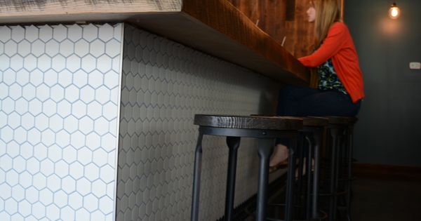 Brick And Tin Reclaimed Wood Bar Top And Hex Tile Bar