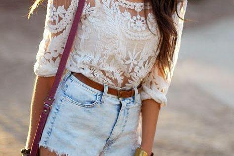 blouse White lace top summer trend shorts shirt white denim shorts dentelle boho tan top lace shirt jean shorts, light wash, high waisted