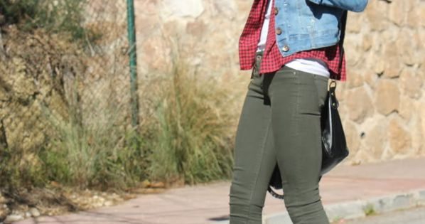 olive jeans, plaid shirt, basic white tank, jean jacket + brown booties